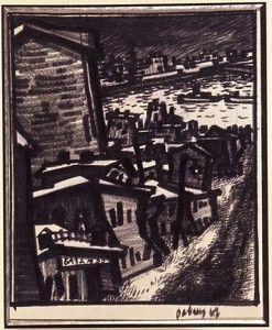 База № 30. Московский ночной пейзаж. 1968 г. Бумага, фломастер. Собрание Александра Кроника, Москва
