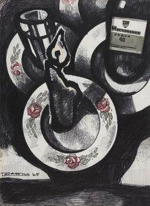 Натюрморт с водкой «Московская» и свечой. 1965 г. Бумага, фломастер, акварель. Собрание Александра Кроника, Москва
